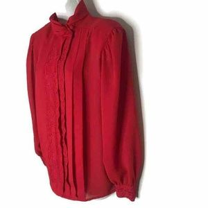 Marks And Spencer Pullover Blouse Red Pleated